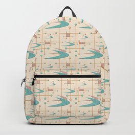 Mid Century Boomerangs in textured Blush Pink and Blue Backpack