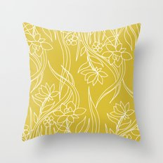Floral Drawing in Yellow Throw Pillow