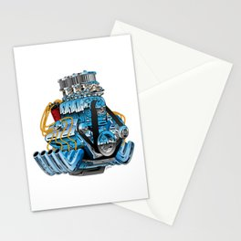 Classic Muscle Car Hot Rod Chrome Racing Engine Cartoon Stationery Cards