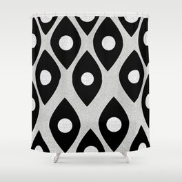 Black and White Pattern Fish Eye Design Shower Curtain