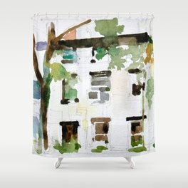Brownstones and Tree Shower Curtain