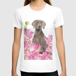 Weimaraner Lotos Flowers T-shirt