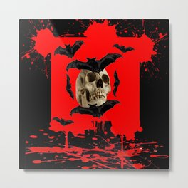 BAT INFESTED HAUNTED SKULL ON BLEEDING RED ON RED  ART Metal Print