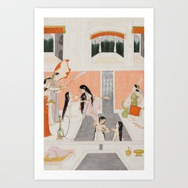 Palace Woman Enjoy Music by the Side of a Water Cascade - 18th Century Classical Hindu Art Art Print