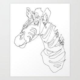 Blind Contour Zebra Art Print