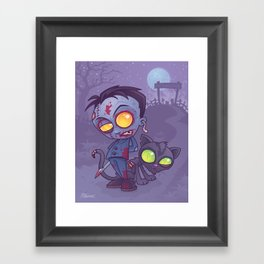 Pet Cemetery: Zombie Boy and his Zombie Cat Framed Art Print