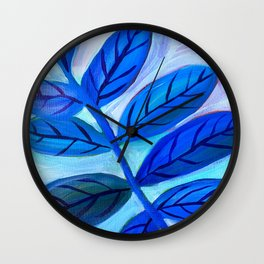 Leaves in Blue Wall Clock