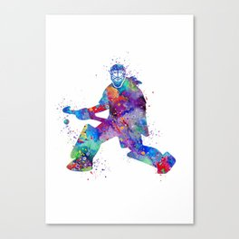 Girl Field Hockey Goalie Watercolor Print Sports Art Gifts Painting Home Decor Canvas Print