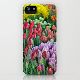Colorful bunches of spring tulips iPhone Case