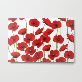 Poppies Flowers red field white background pattern Metal Print