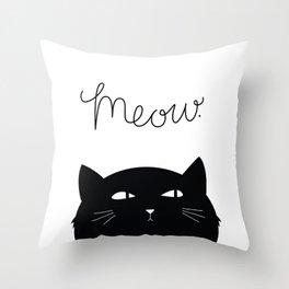 Cattitude B&W Throw Pillow