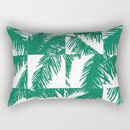 Palm Leaf Pattern Green Rectangular Pillow