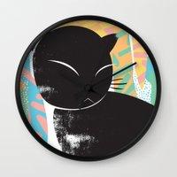 memphis Wall Clocks featuring Memphis Cat by kelsosullivan