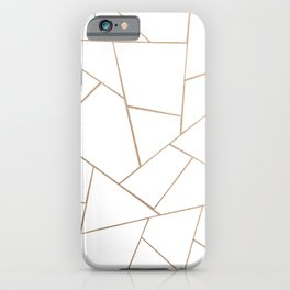 Rose Gold White Geometric Glam #1 #geo #decor #art #society6 iPhone Case