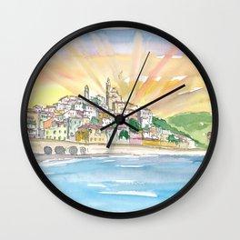 Cervo Liguria Italian Village by The Sea Wall Clock
