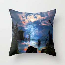 Ghost Blue Throw Pillow