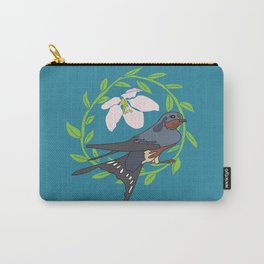 Floral Bird Illustration Spring Print Carry-All Pouch