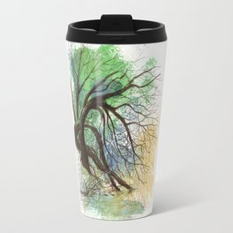 Trees bending over the water Travel Mug
