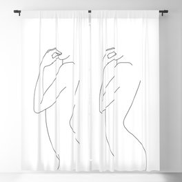 Nude figure line drawing - Beda Blackout Curtain