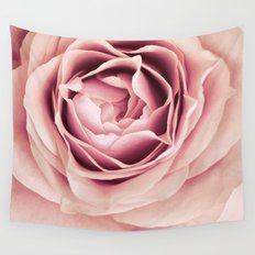 My Heart is Safe with You, My Friend - pale pink rose macro Wall Tapestry