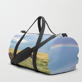 Rainbows and Bison - Buffalo on the Tallgrass Prairies of Oklahoma Duffle Bag