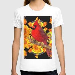 RED CARDINAL SUNFLOWERS BLACK ART T-shirt