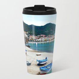 Boats on Beach at Cefalu Italy Travel Mug