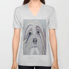 Havanese in Denim Colors Unisex V-Neck