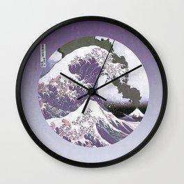 Great Wave Off Kanagawa Mount Fuji Eruption Purple Gradient Wall Clock