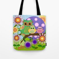 bebop Tote Bags featuring Owls, Flowers Fantasy design by thea walstra