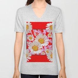 MODERN  DAISY FLOWER  RED ABSTRACT ART DESIGN Unisex V-Neck