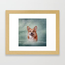 Drawing Dog breed Welsh Corgi portrait Framed Art Print