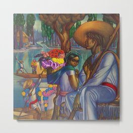 Calla Lily & Sunflower Flower Seller on Aztec Canel of Xochimilco, Mexico portrait painting Metal Print