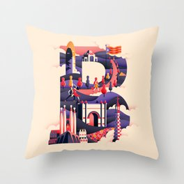 Wanderlust Alphabet – B is for Barcelona Throw Pillow