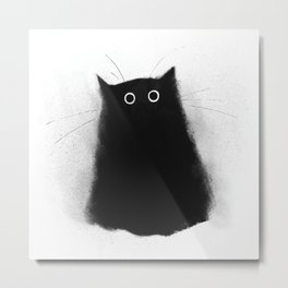 Fuzzy Black Cat Metal Print