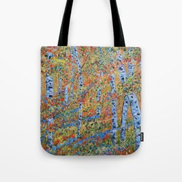 Aspen Trees, Birch Trees, Abstract Art, Landscape Painting Tote Bag