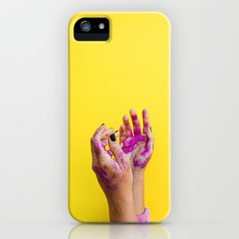 Yellow Paint Hands (Color) iPhone Case