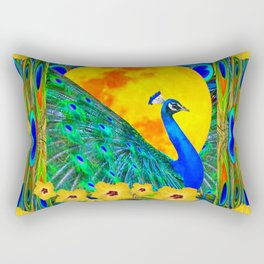 YELLOW HIBISCUS FULL GOLDEN MOON  BLUE PEACOCKS Rectangular Pillow