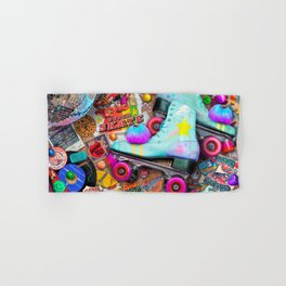 Super Retro Roller Skate Night Hand & Bath Towel