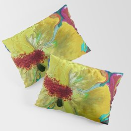 Birthday Acrylic Yellow Orange Hibiscus Flower Painting with Red and Green Leaves Pillow Sham
