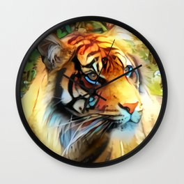 Clover Blossom Tigress Wall Clock