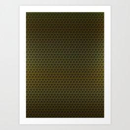 Metallic Gold Graphite Honeycomb Carbon Fiber Art Print