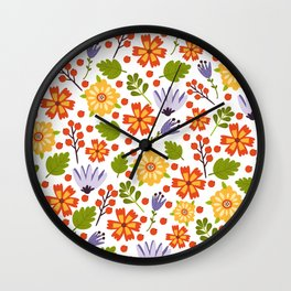 Sunshine yellow lavender orange abstract floral illustration Wall Clock