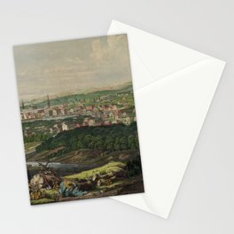 Vintage Pictorial Map of Bridgeport CT (1857) Stationery Cards
