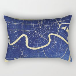 New Orleans Blue and Gold Map Rectangular Pillow