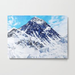 Watercolor Mount Everest Art Metal Print