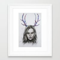 cara delevingne Framed Art Prints featuring Cara Delevingne  by Pritish Bali