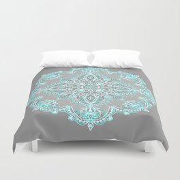 Teal and Aqua Lace Mandala on Grey Duvet Cover