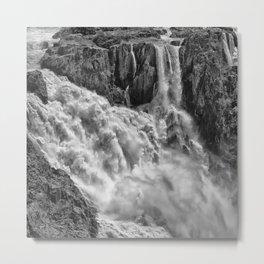 Black and White Beautiful Waterfall Metal Print
