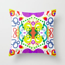 Abstract shapes in white Throw Pillow